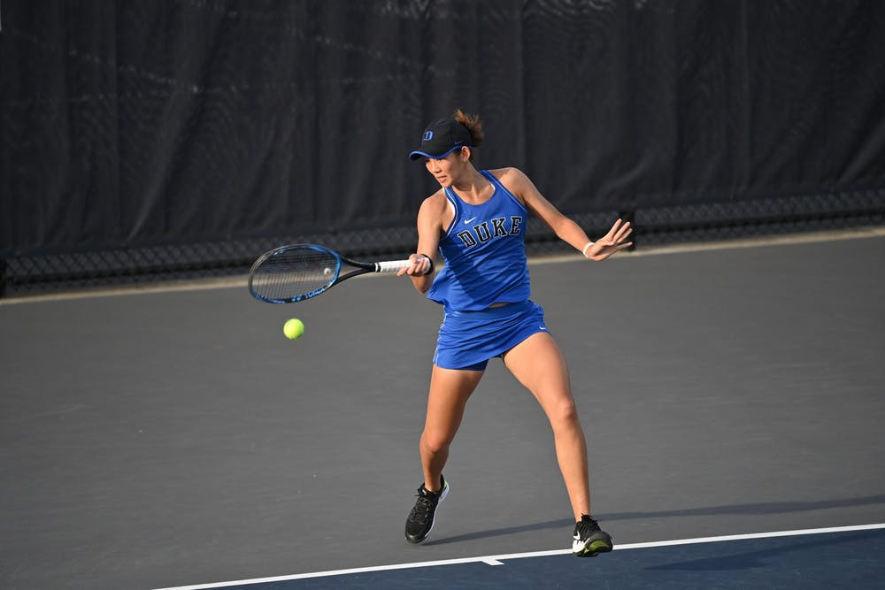 Graduate student Meible Chi won her singles match Friday against the Yellow Jackets, but it wasn't enough to push Duke over the top.