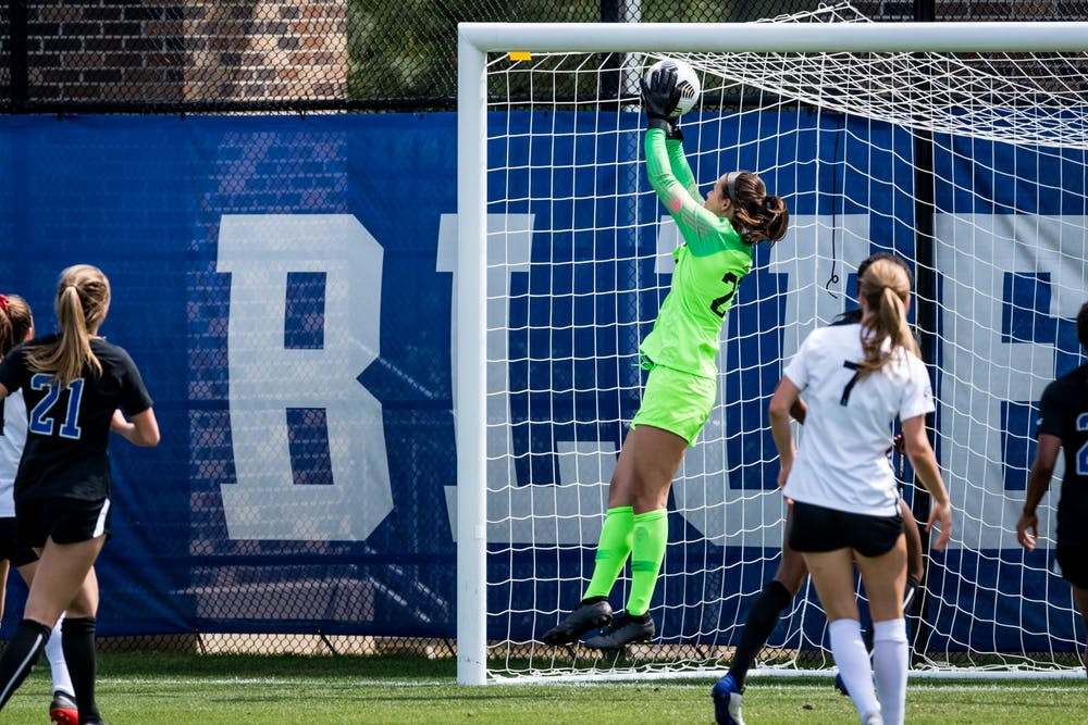 <p>Ruthie Jones has been rock solid for Duke women's soccer since snagging the starting job last season.&nbsp;</p>