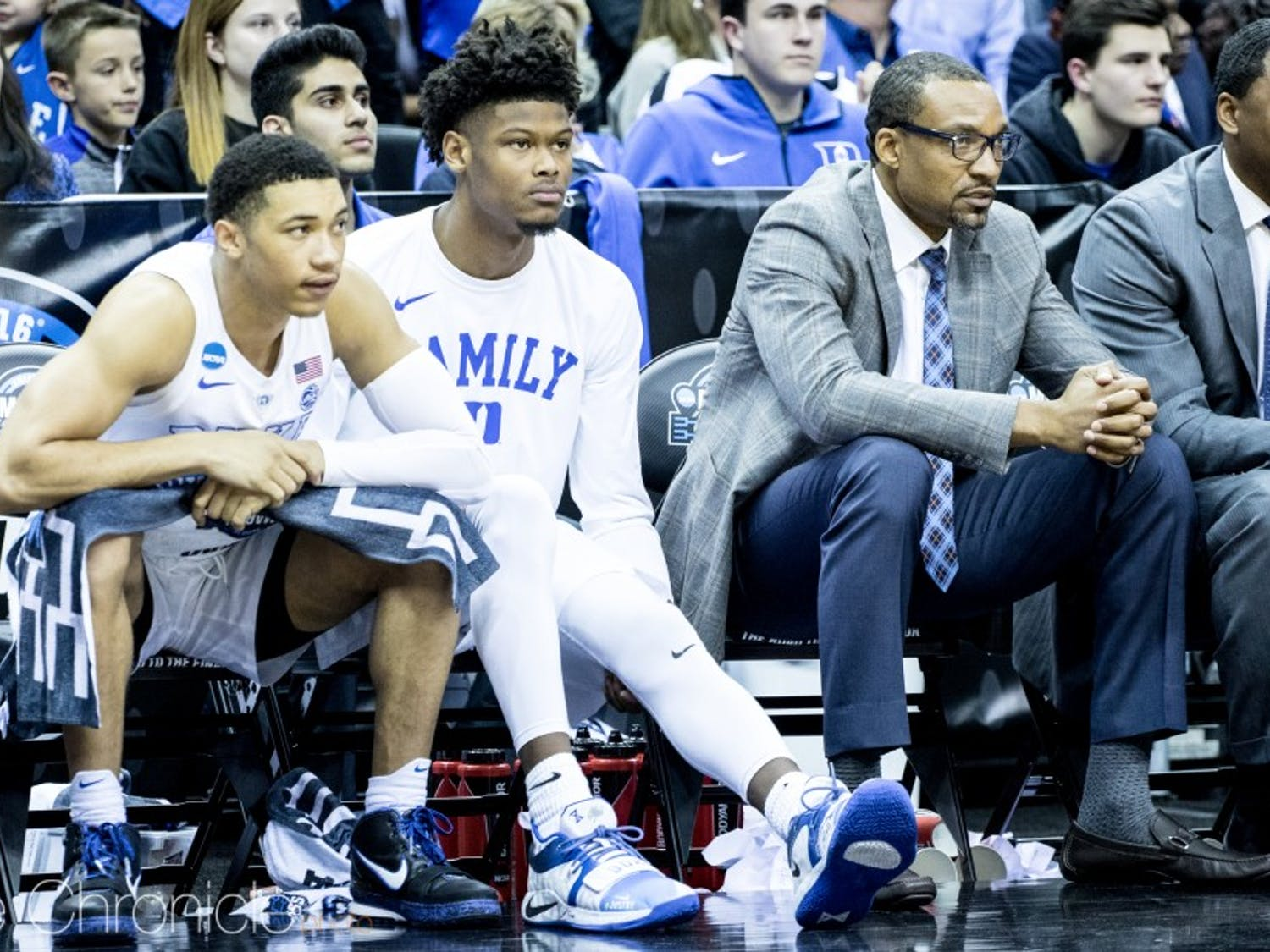 Cam Reddish sat out Friday's Sweet 16 game with knee soreness after he said he tweaked it on Thursday.