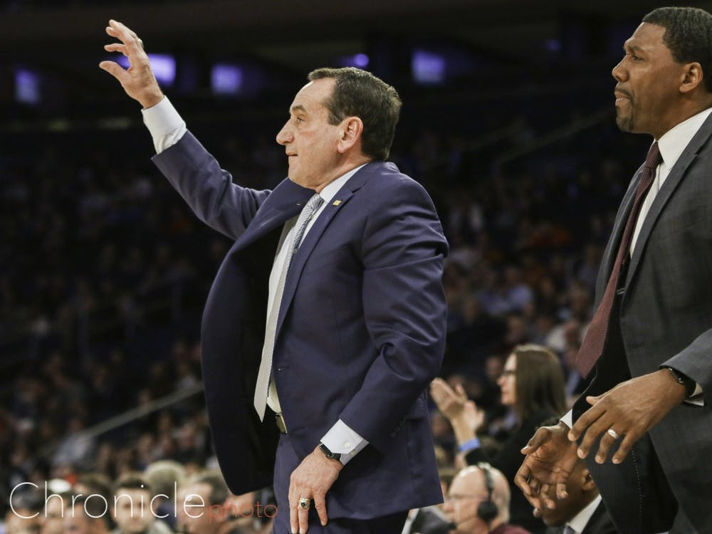 "Mike Krzyzewski will be matched up with his ""close friend"" Patrick Ewing on the sidelines Friday."