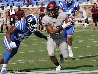 Redshirt senior cornerback Leonard Johnson (33) aims to bring Duke's secondary back into form to contain the Aggies' air attack.