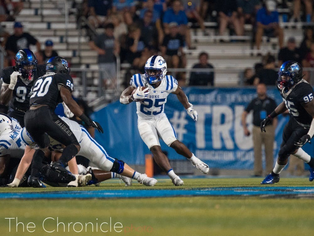 <p>Led by Deon Jackson and Mataeo Durant, Duke's rushing attack impressed in the first half against the Orange.</p>