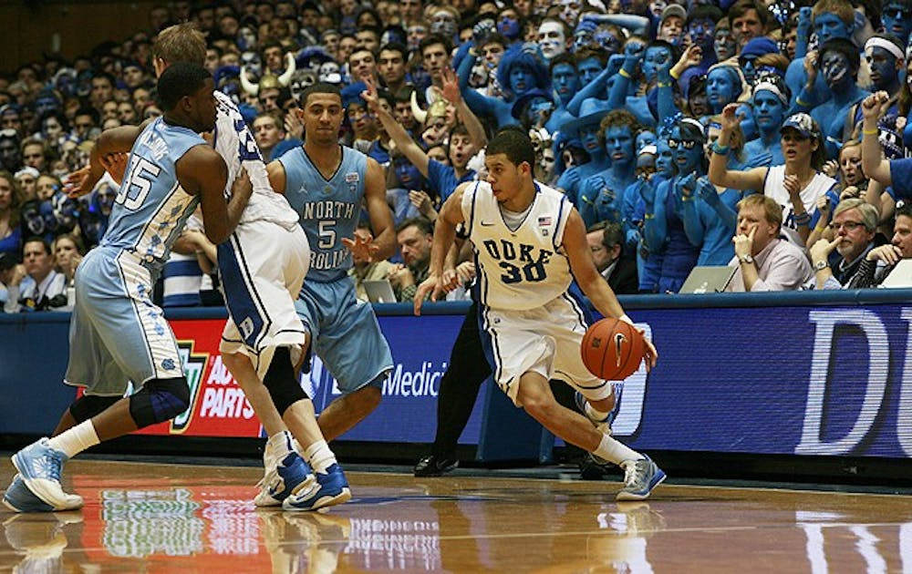 Seth Curry's second-half shooting helped to propel Duke past North Carolina in Curry's first game in the Tobacco Road Rivalry. Photo by Melissa Yeo/The Chronicle File Photo