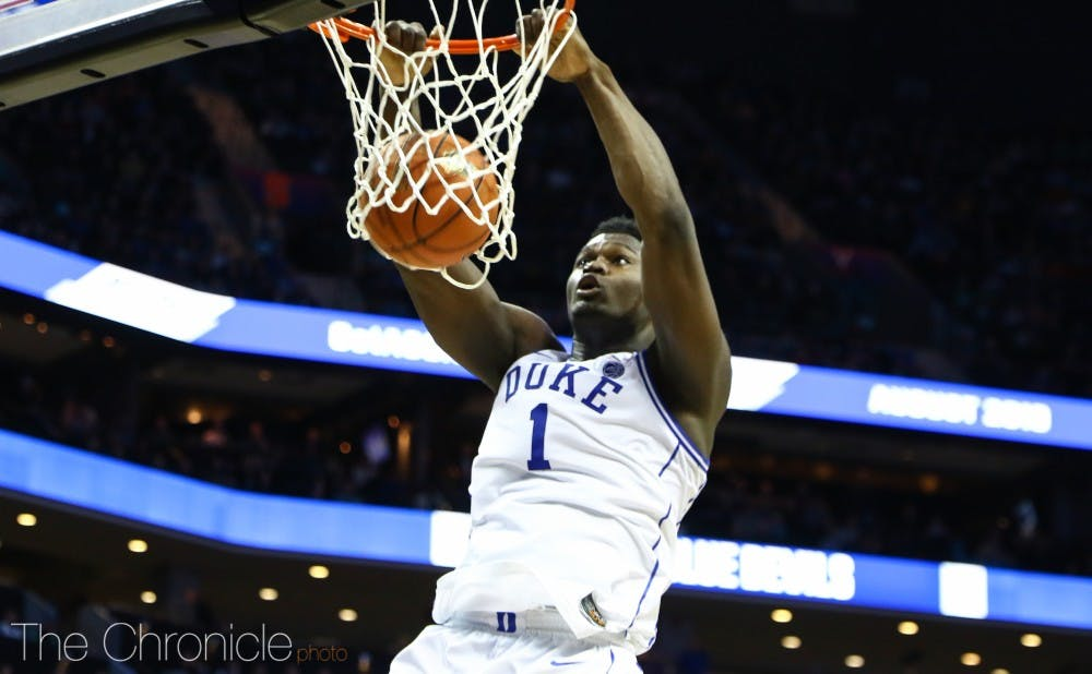 <p>Zion Williamson led the Blue Devils from the outset in his home state of South Carolina.</p>