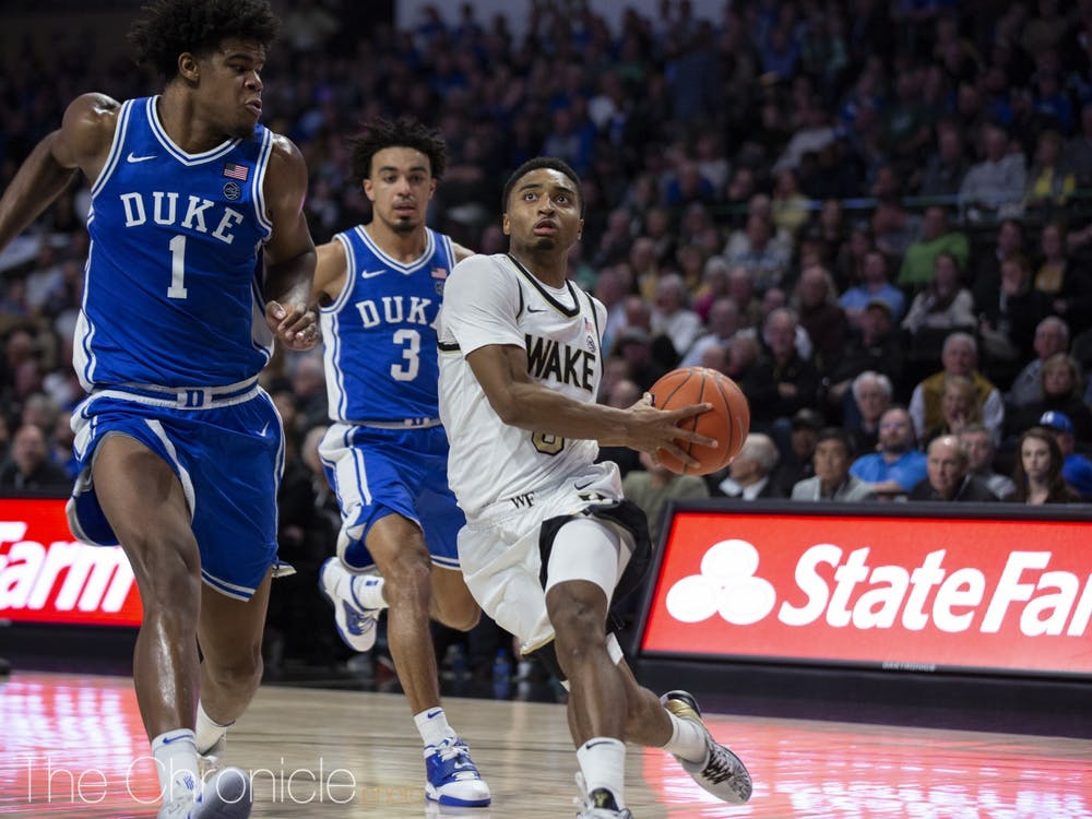 <p>Senior guard Brandon Childress missed his first 10 shots of the game but carried Wake Forest in overtime.</p>