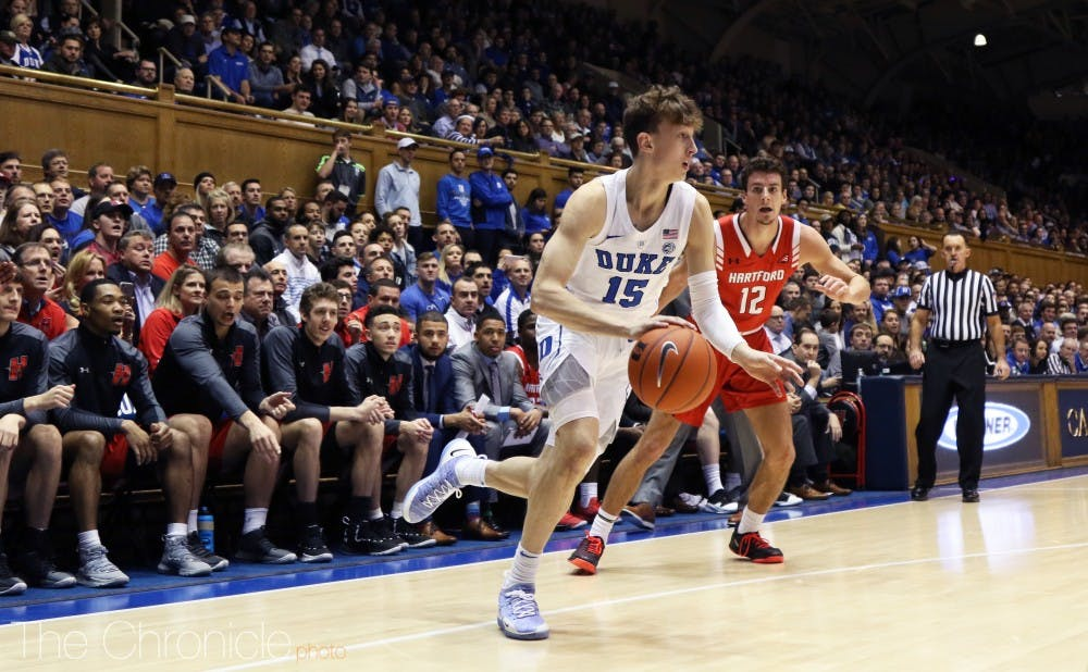 <p>Alex O'Connell sparked the Blue Devils offense with key buckets off the bench.</p>