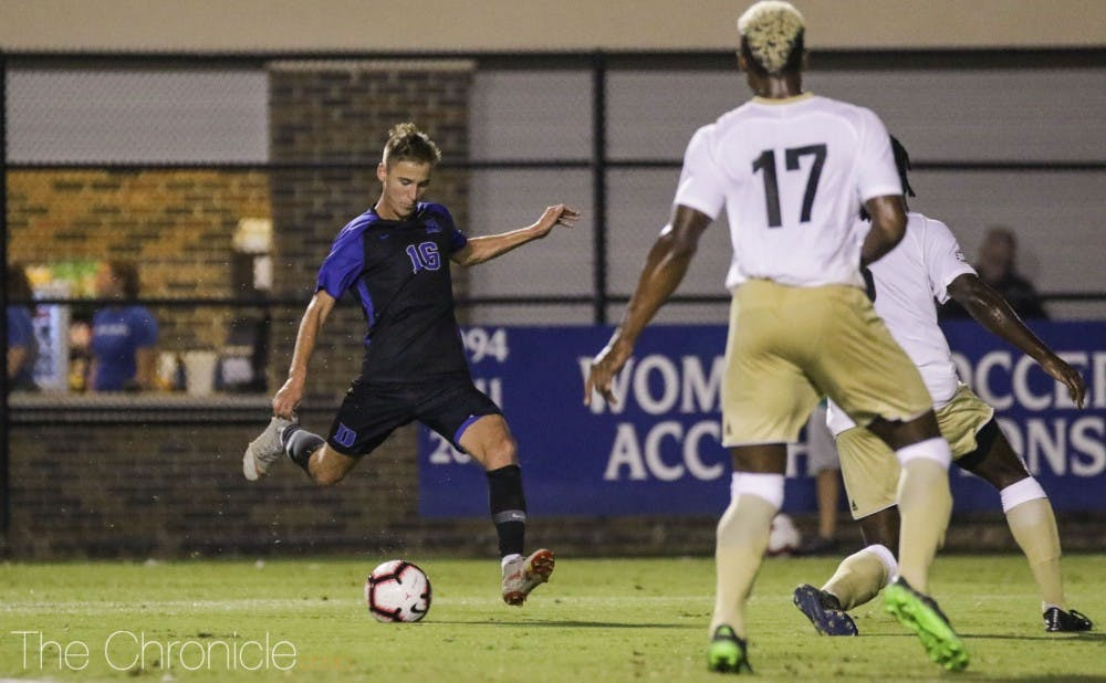 <p>Daniel Wright notched the game-sealing goal in Duke's win over Wofford.</p>