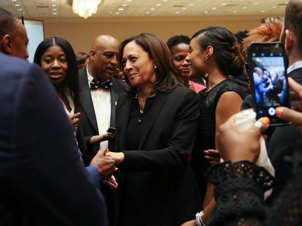 Democratic presidential Candidate Kamala Harris was in Durham last Saturday as the keynote speaker for the Durham Committee on the Affairs of Black People's Founders' Day Banquet. Senator Harris (D-CA) was introduced by Representative G.K. Butterfield (D-NC). NC Governor Roy Cooper and Chief Justice Cheri Beasley of the NC Supreme Court were also in attendance at an event that honors community members and awards scholarships to students from Durham.  Photos by Photo Editor Mary Helen Wood  See Stefanie Pousoulides's article here.