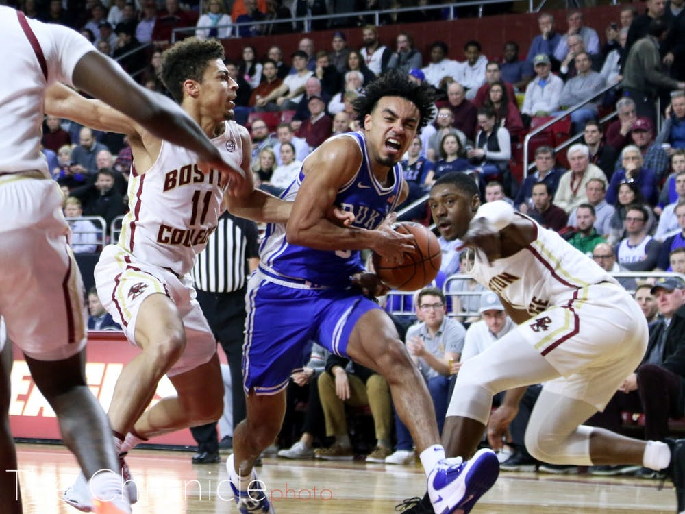 <p>Tre Jones and Duke could not come up victorious in the Blue Devils' trip to Chapel Hill last season.</p>