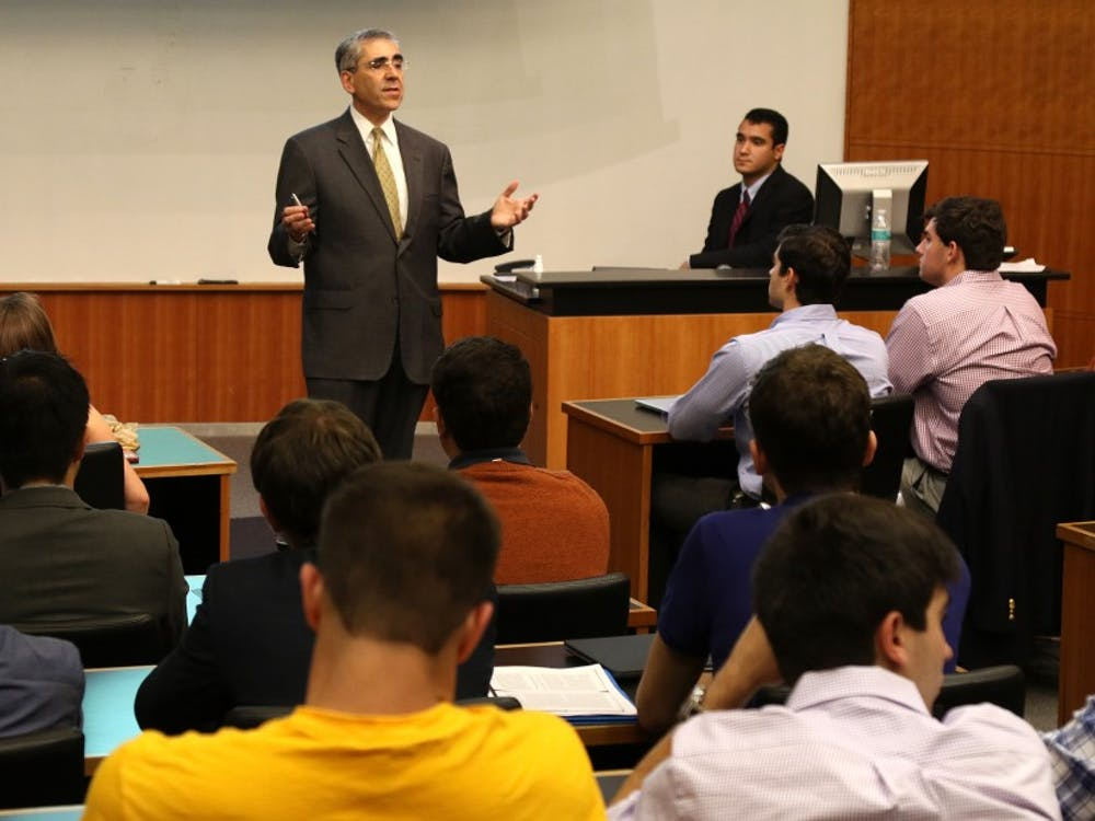 Michael Schoenfeld, vice president for public affairs and government relations, addressed DSG about dealing with the media Wednesday evening.