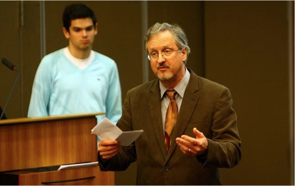 Chronicle File Photo | Nowicki addresses a Duke Student Government meeting in 2012.