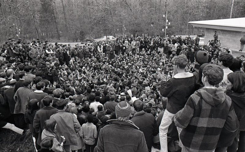 Students gathered to talk with President Douglas Knight. | Courtesy of Duke University Archive