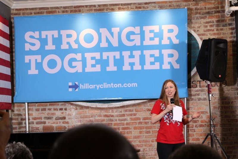 Chelsea Clinton spoke about her mother's plan to make higher education more affordable and encouraged volunteers to get involved in the campaign.