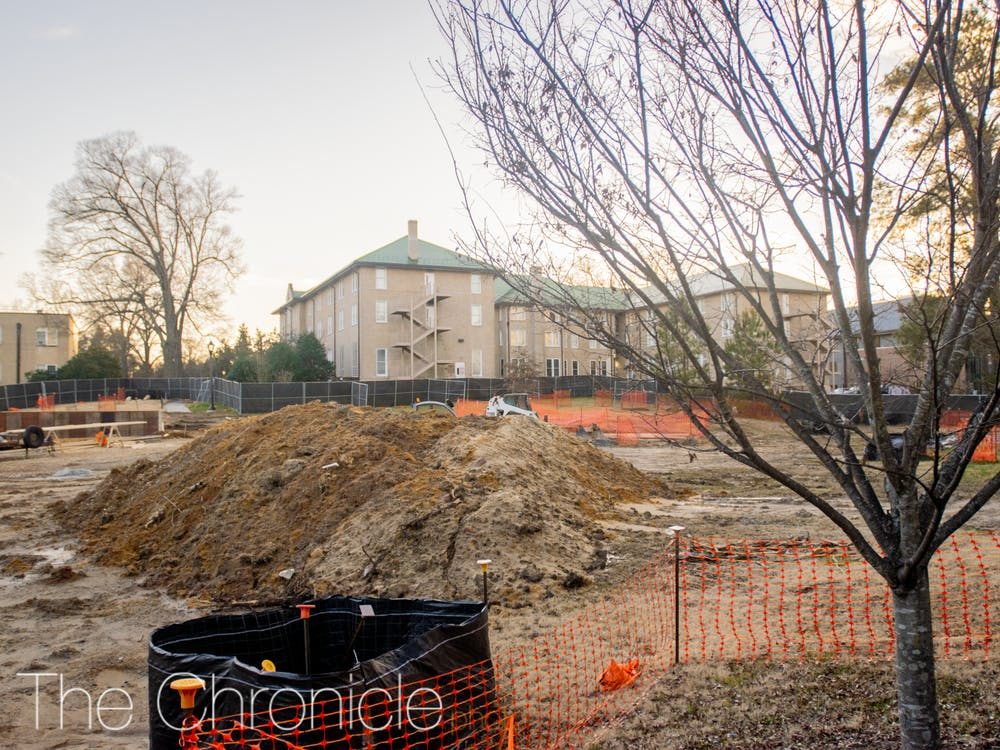 <p>Unmarked construction on East Campus is turning the quad by Trinity into a new public gathering space.&nbsp;</p>