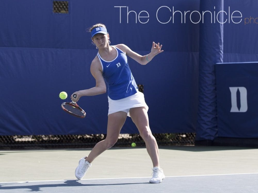 Chalena Scholl helped Duke win the doubles point in a lengthy tiebreak before coming out on top in a three-set match in singles.