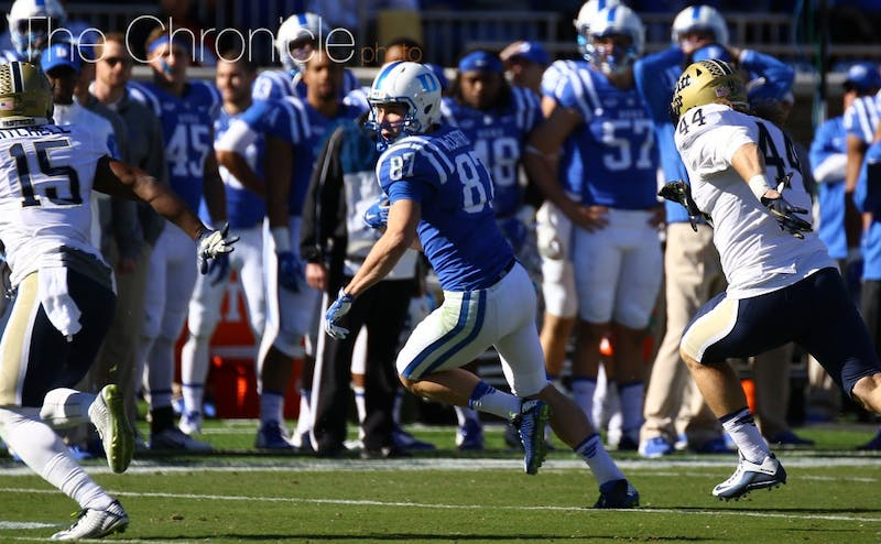Senior Max McCaffrey must step up in the absence of dismissed wide out Johnell Barnes for the Blue Devils Saturday.