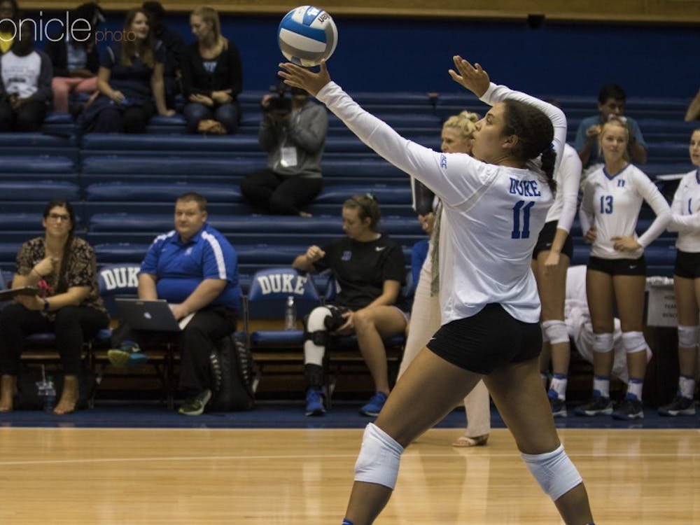 Senior middle blocker Jordan Tucker and the Blue Devils are tied for third in the ACC.