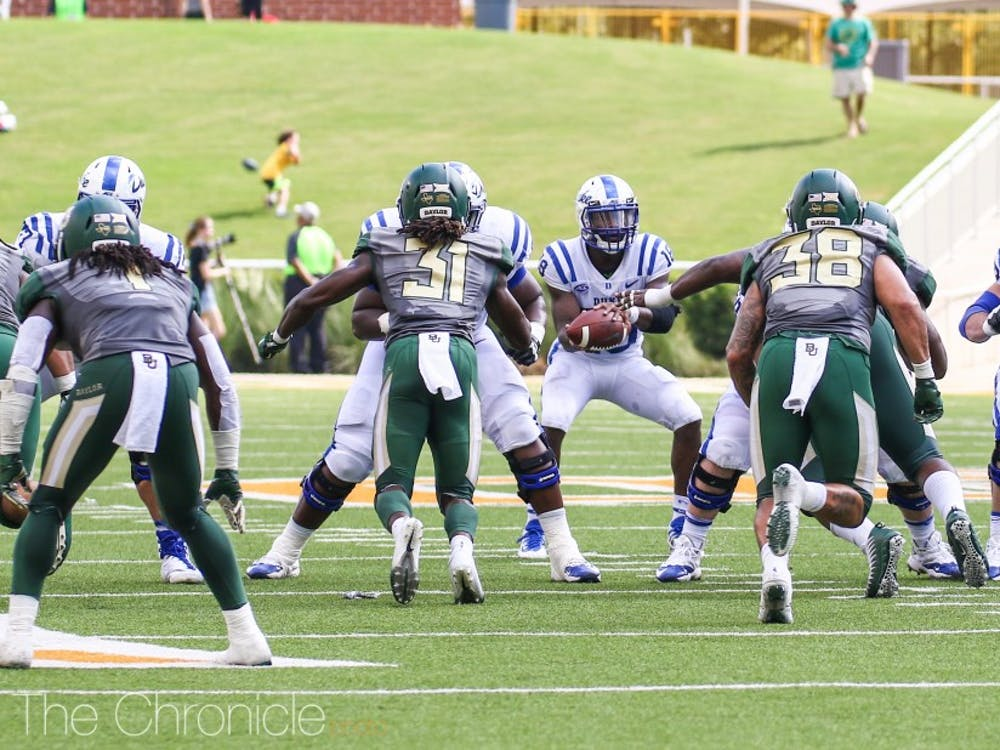 Quentin Harris, who will lead Duke's offense until Daniel Jones returns from injury, proved to be a capable replacement Saturday.