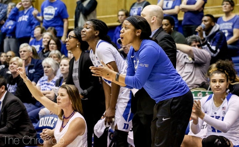 Kyra Lambert has led the Blue Devils from the sidelines while recovering from a torn ACL.