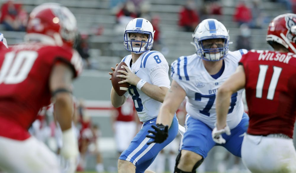 <p>Chase Brice continued to struggle with turnover problems in the loss to N.C. State.</p>
