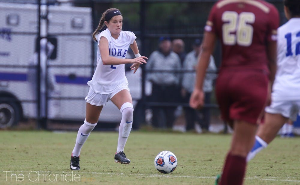 Chelsea Burns struck first with a header after Ella Stevens sent a corner kick into the box for the Blue Devils' first goal off a corner in a while.