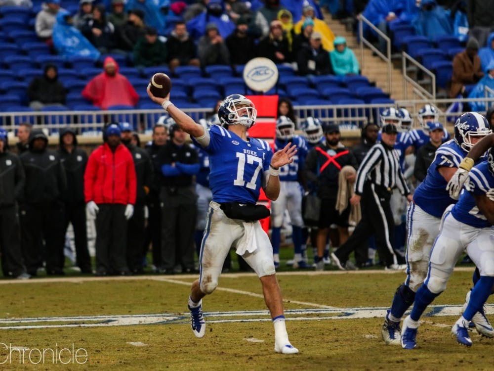 Daniel Jones threw an interception in the first half Thursday.