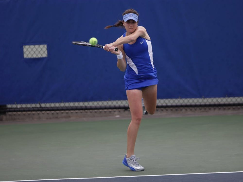 Senior Ester Goldfeld earned her 100th career victory Sunday against No. 8 Virginia.