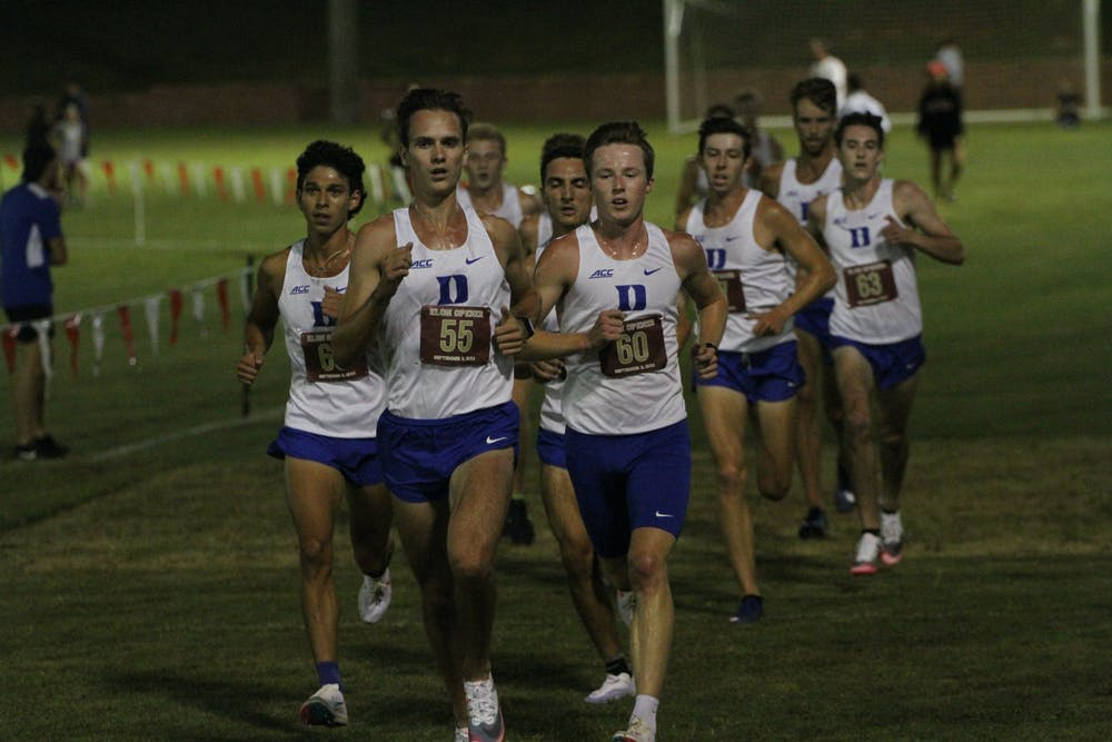 <p>A formidable pack of 11 Blue Devil runners took up spots two-through-12 for most of the men's race.</p>