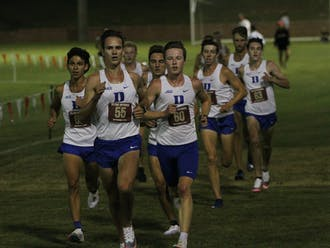 A formidable pack of 11 Blue Devil runners took up spots two-through-12 for most of the men's race.