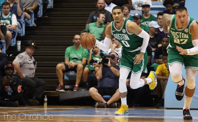 Former Blue Devils Jayson Tatum returned to the Raleigh-Durham area after leaving Duke for the NBA in 2017.