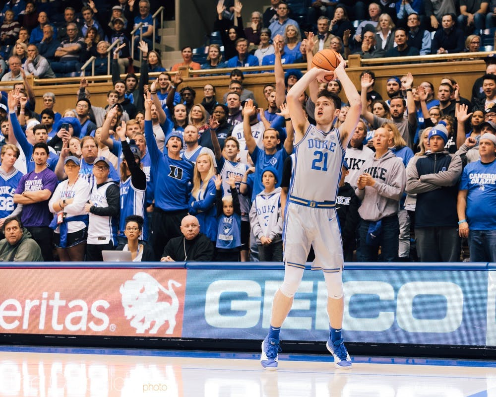<p>Matthew Hurt's ability to hit threes off the bench provided Duke with some necessary sparks during important games.</p>