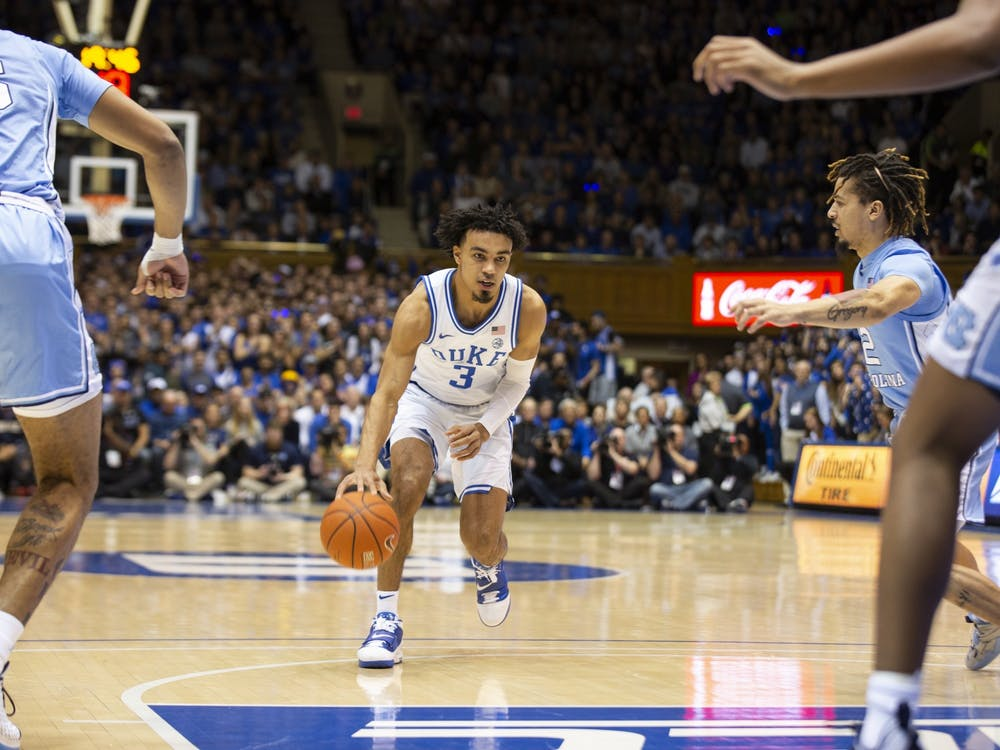 <p>Tre Jones spent his final year at Duke commanding the floor and acting as the team's primary ball handler.</p>