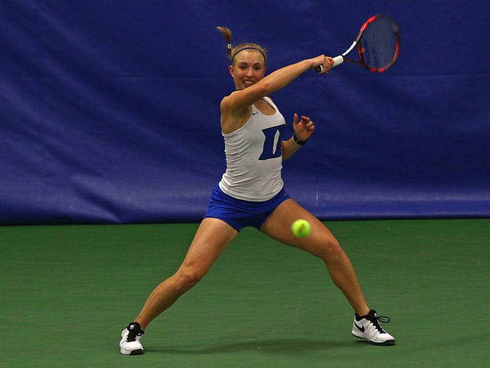With senior Beatrice Capra unable to play on Senior Day due to illness, freshman Ellyse Hamlin stepped up and clinched a Duke win for the second straight match Tuesday.