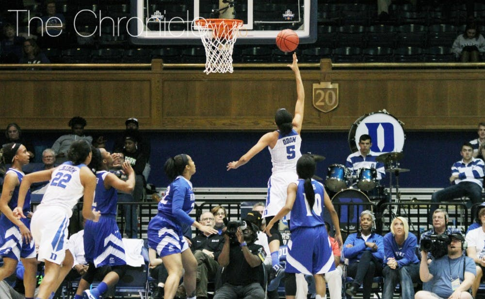 <p>Freshman Leaonna Odom had a big game Saturday and will need to keep scoring well for the Blue Devils with Kyra Lambert sidelined.&nbsp;</p>