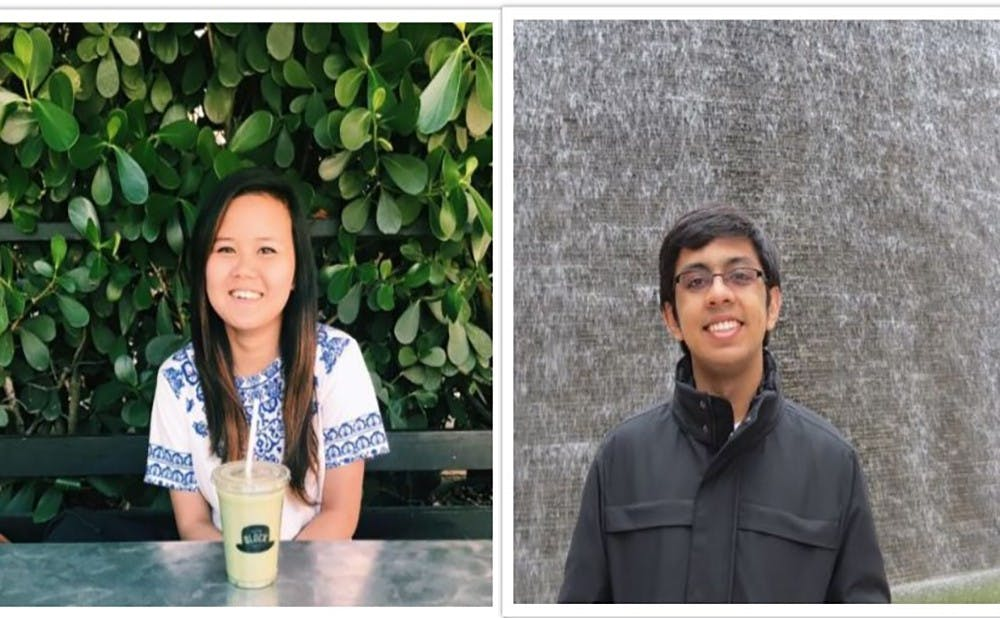 Jenny Jiao (left) and Salil Mitra (right), the USUDC champions. Courtesy of Duke University Debating Society.