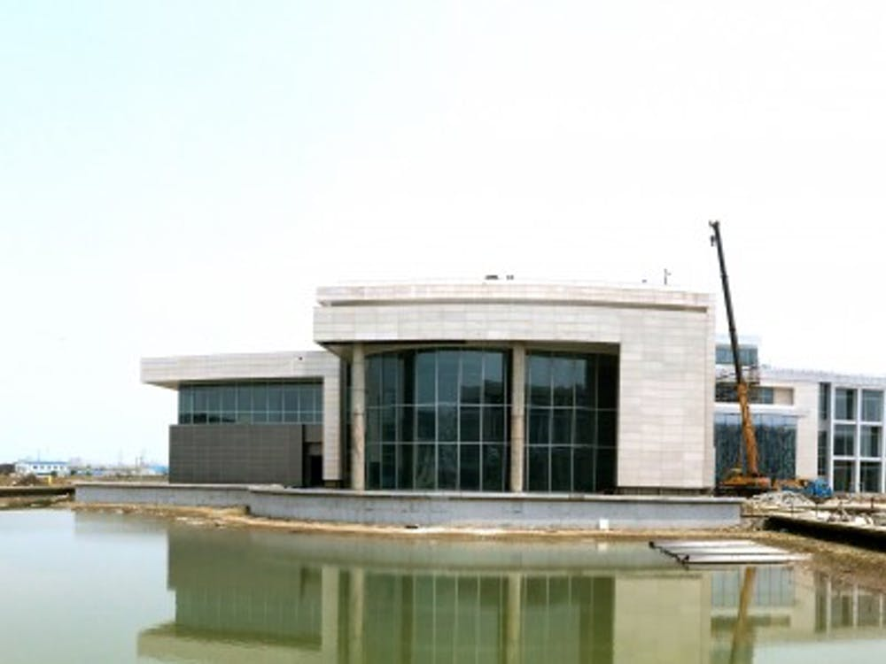 A panoramic view of the back of DKU's academic building and its signature water pavilions.