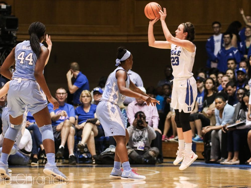 Rebecca Greenwell was on fire all afternoon against North Carolina, saving her best for last at Cameron Indoor Stadium.
