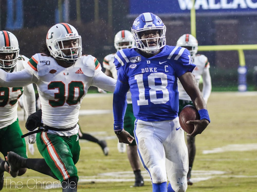 Quentin Harris completed 10 of his 24 pass attempts for 156 yards and one touchdown in his final game as a Blue Devil