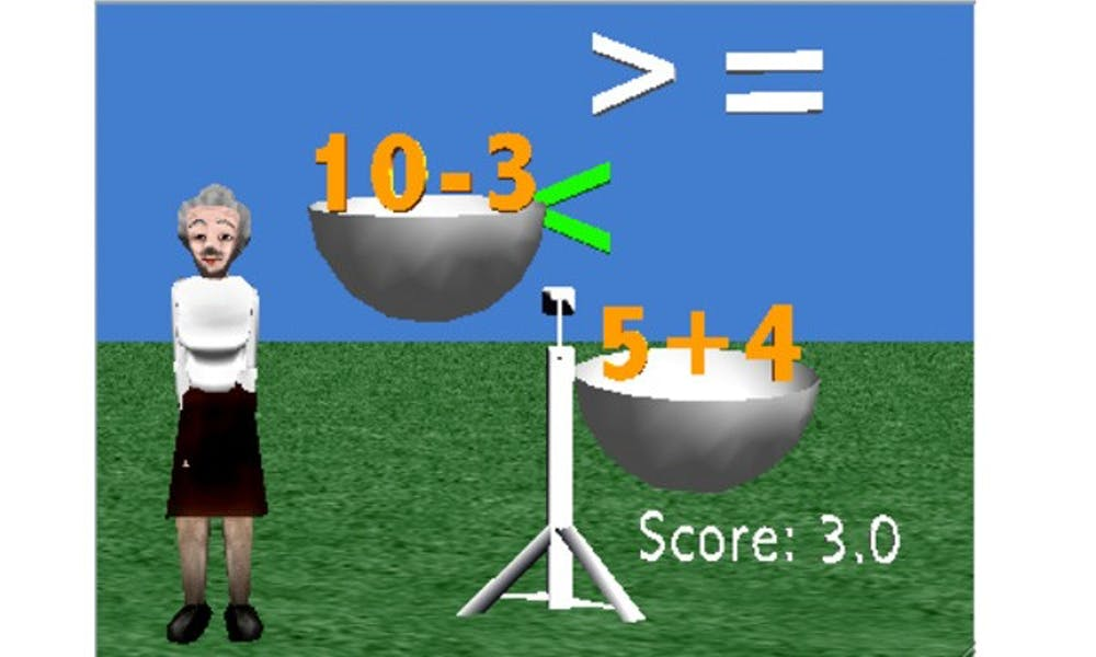This Alice program helps students visualize inequalities using a balance.