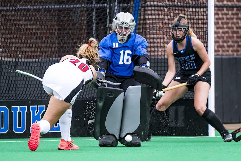 Duke goalkeeper Piper Hampsch had seven saves against No. 3 Louisville Saturday.