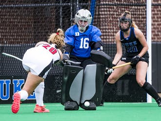 Duke goalkeeper Piper Hampsch had seven saves against No. 3 Louisville Saturday.