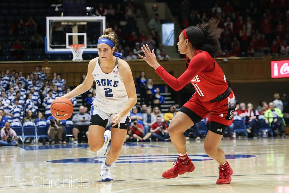 <p>Haley Gorecki's all-around effort would not be enough to push the Blue Devils to a win.</p>