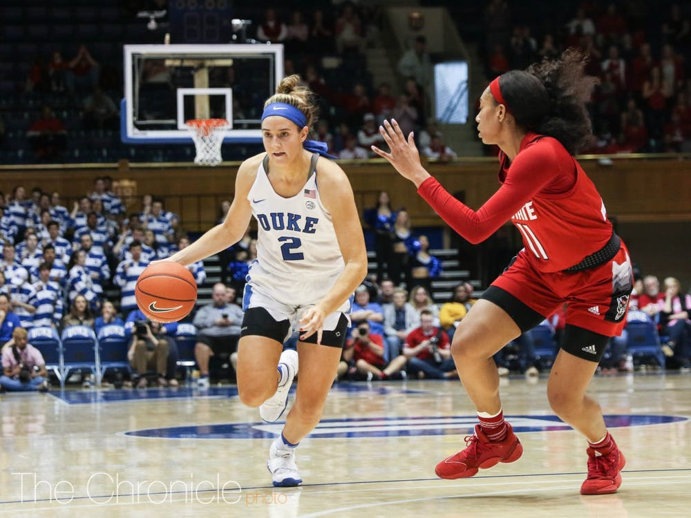 Haley Gorecki's all-around effort would not be enough to push the Blue Devils to a win.