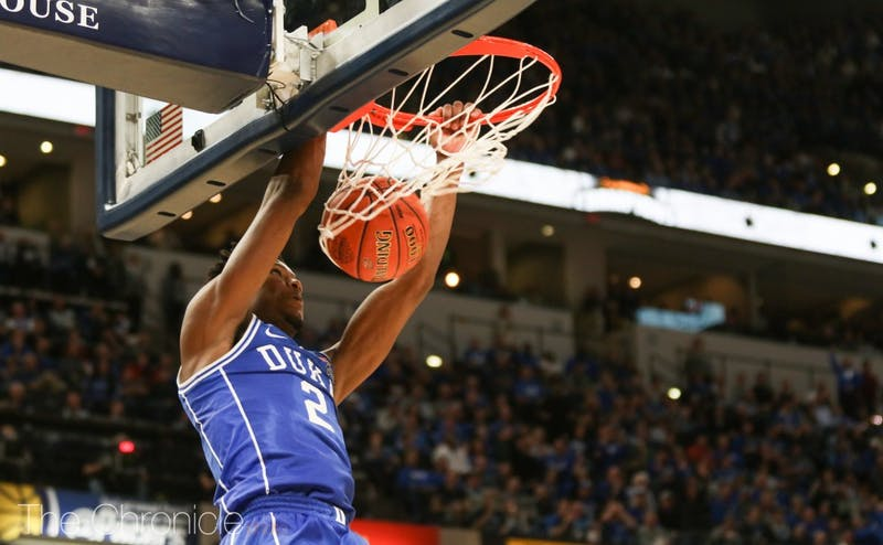 Zion Williamson, R.J. Barrett and Cam Reddish combined to score 83 points in Tuesday's blowout.