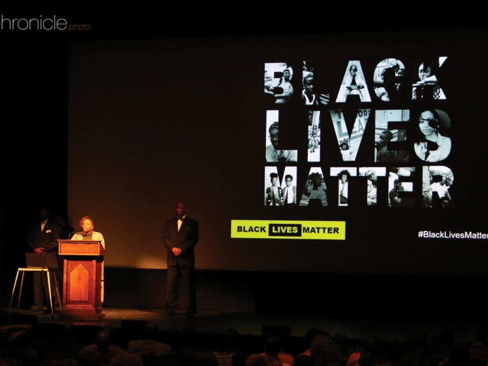 Patrisse Cullors, co-founder of the Black Lives Matter movement, addressed a packed Page Auditorium Wednesday evening.