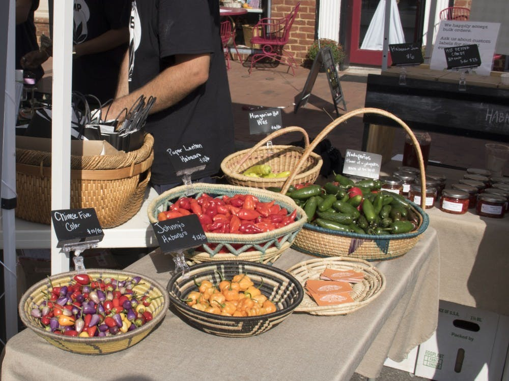 <p>Dozens of vendors gathered in downtown Pittsboro for North Carolina's annual PepperFest.</p>