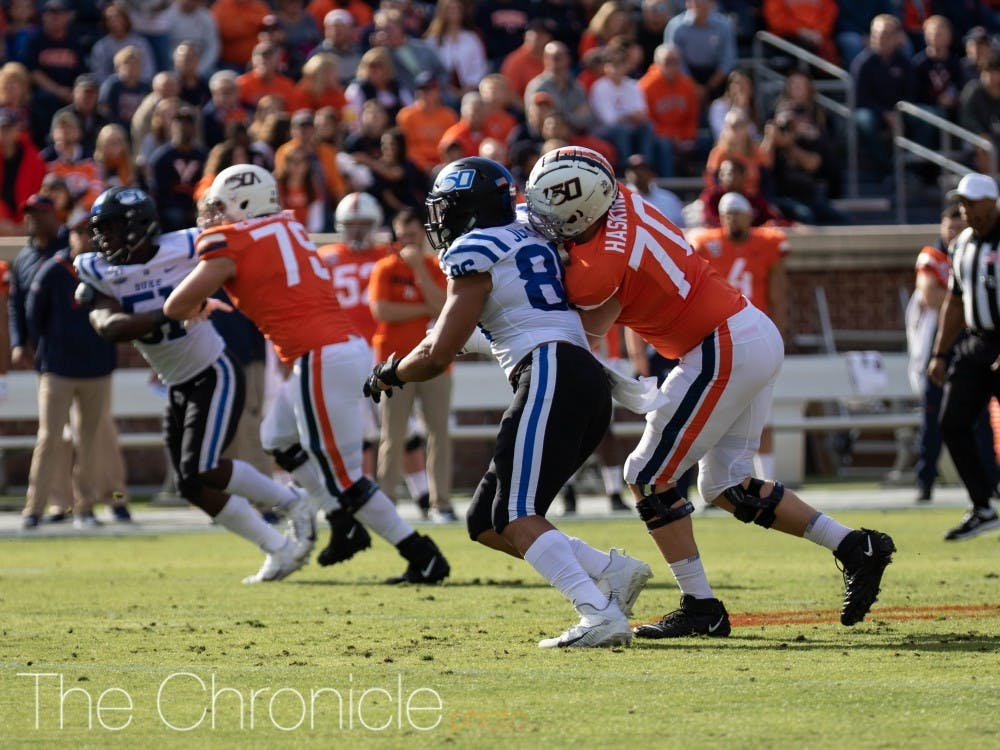 Duke has lost five consecutive games against Virginia, including a lopsided 48-14 defeat last season.