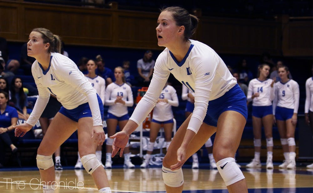 <p>Sophomore Payton Schwantz led the Blue Devils in both matches over the weekend.</p>