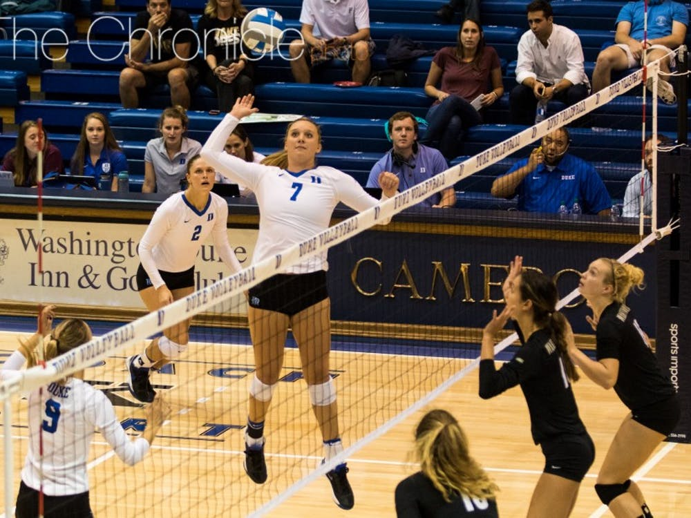 Sophomore Leah Meyer had 12 kills Wednesday night to move the Blue Devils to 3-0 at home in the past week.