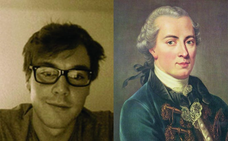 Philosophy graduate student Paul Henne (left) and research associate Vlad Chituc have questioned a main principle of famous philosopher Immanuel Kant (right).